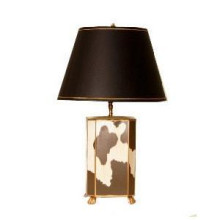 Cowhide Tole Table Lamp with Black Shade | Gracious Style
