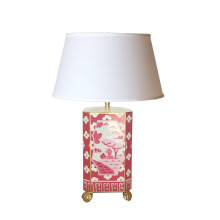 Canton Pink Tole Table Lamp with White Shade | Gracious Style