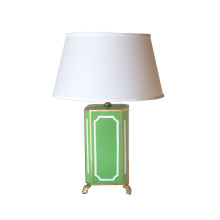 Devon Green Tole Table Lamp with White Shade | Gracious Style