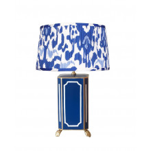 Devon Navy Tole Table Lamp with White Shade | Gracious Style