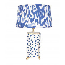 Navy Fleck Tole Table Lamp with Pleated Blue Ikat Shade | Gracious Style