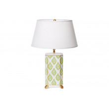 Green Block Print Tole Table Lamp with White Shade | Gracious Style