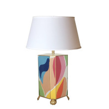 Modern Art Tole Table Lamp with White Shade | Gracious Style