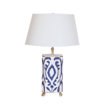 Navy Ikat Tole Table Lamp with White Shade | Gracious Style