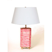 Pink Croc Tole Table Lamp with White Shade | Gracious Style