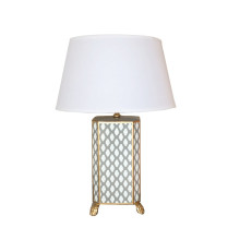 Grey Parsi Tole Table Lamp with White Shade | Gracious Style
