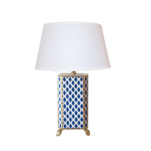 Navy Parsi Tole Table Lamp with White Shade | Gracious Style