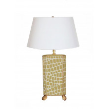 Taupe Croc Tole Table Lamp with White Shade | Gracious Style