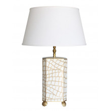 White Croc Tole Table Lamp with White Shade | Gracious Style