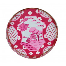 """Canton Pink Tole 16"""" Round Tray Small 