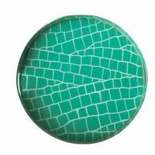 "Emerald Croc Tole 16"" Round Tray Small | Gracious Style"