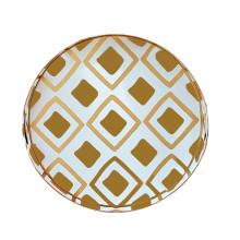 """Haslam Brown Tole 16"""" Round Tray Small 