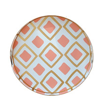 """Haslam Salmon Tole 16"""" Round Tray Small 