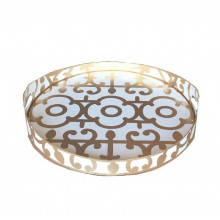 """Gold Klimt Tole 16"""" Round Tray Small 