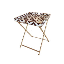 """Baratta Brown Side 22"""" Square Table with Bamboo Stand 