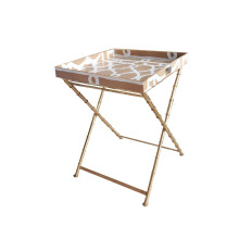 """Ming Taupe Tray Side 22"""" Square Table with Bamboo Stand 
