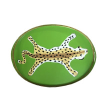 """Green Leopard 14"""" x 20"""" Oval Tray 