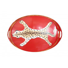 "Orange Leopard 14"" x 20"" Oval Tray | Gracious Style"