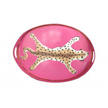 """Pink Leopard 14"""" x 20"""" Oval Tray 