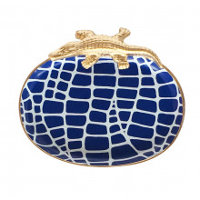 """Navy Croc 9"""" x 7"""" Oval Tray Small 