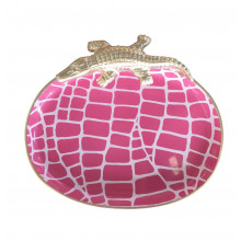 """Pink Croc 9"""" x 7"""" Oval Tray Small 