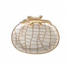 """White Croc 9"""" x 7"""" Oval Tray Small 