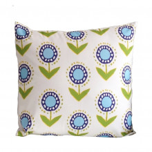 """Posey Ikat Turquoise on White 22"""" Square Pillow 