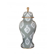 Grey Block Print Ginger Jar Medium | Gracious Style