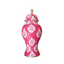 Pink Block Print Ginger Jar Medium | Gracious Style