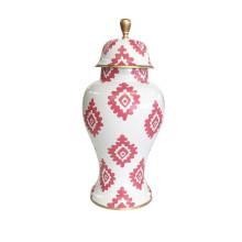 Pink Block Print on White Ginger Jar Medium | Gracious Style