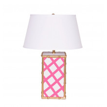 Bamboo Pink Lattice Table Lamp | Gracious Style