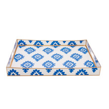"""Navy Block Print 16"""" x 22"""" Rectangle Serving Tray 