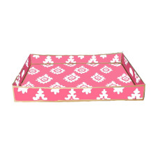 """Pink Block Print 16"""" x 22"""" Rectangle Serving Tray 
