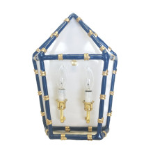 """Bamboo Navy 13"""" x 11"""" Sconce 
