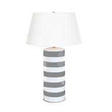 Grey Striped Stacked Table Lamp | Gracious Style