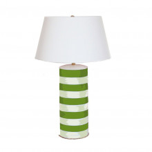 Green Striped Stacked Table Lamp | Gracious Style