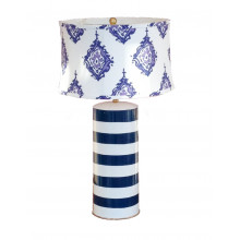 Blue Stripe Stacked Table Lamp | Gracious Style