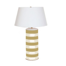 Taupe Stripe Stacked Table Lamp | Gracious Style