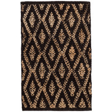 Two tone Diamond Black Natural Woven Jute Rugs | Gracious Style