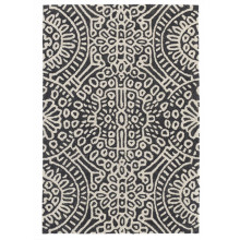 Temple Charcoal Micro Hooked Wool Rugs | Gracious Style