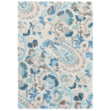 Ines Blue Micro Hooked Wool Rugs | Gracious Style
