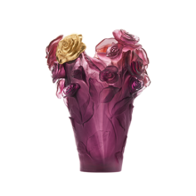 Rose Passion Red Violet Medium Vase & Gilded Flower Height 35 Cm | Gracious Style
