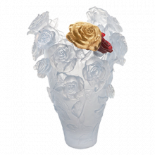 Rose Passion White Magnum Vase With Red & Gold Bouquet Height 53 Cm | Gracious Style