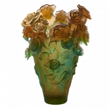 Rose Passion Orange Green Magnum Vase & Gilded Roses Height 53 Cm | Gracious Style