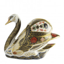 Paperweights Collection Old Imari Solid Gold Band Swan | Gracious Style