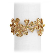 Garland w/Yellow Crystals Gold Set of 4 Napkin Jewels
