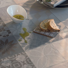 Mille Tiles Anthracite Coated Stain Resistant Table Linens | Gracious Style