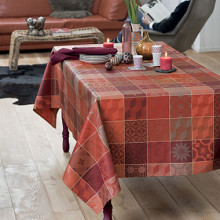 "Mille Tiles Terracotta Tablecloth Square 35""x35"", 100% Cotton 