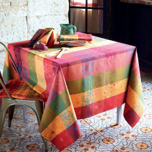 "Mille Alcees Litchi Tablecloth Square 69""x69"", Coated Cotton 