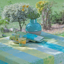 "Mille Alcees Narcisse Tablecloth Square 69""x69"", Coated Cotton 